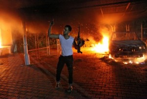 Attacker Celebrates during the September 11, 2012 Benghazi Consulate attack that killed Ambassador Stevens.