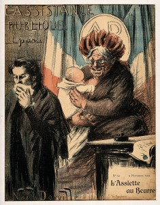 V0011830 An old wet nurse; symbolising France as nanny-state and publ